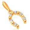 14K sárga arany medál - szerencsét hozó patkó átlátszó cirkóniákkal