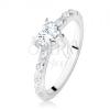 Eljegyzési gyűrű 925 ezüstből, cirkóniás szív, díszített szárak