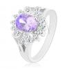Ezüst színű gyűrű, világoslila csiszolt ovális, átlátszó körvonal