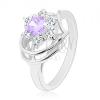 Fénylő gyűrű ezüst színben, kör alakú világos lila- átlátszó cirkóniák