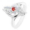 Ezüst színű gyűrű, átlátszó cirkóniás vonal, piros cirkónia középen