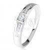 Gyűrű 925 ezüstből, átlátszó cirkóniák, egyenes vonalak kövekkel