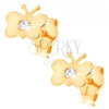 585 arany fülbevaló - fényes lapos lepke, kerek átlátszó cirkónia