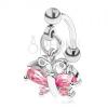 Acél szemöldök piercing ezüst színben, rózsaszín cirkóniás lepke