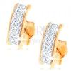 585 arany fülbevaló - csillogó ív Swarovski kristályokkal, fényes szélek