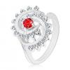 Fényes gyűrű ezüst színben, spirál átlátszó szegéllyel, piros kerek cirkónia