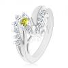 Gyűrű ezüst árnyalatban, zöld kerek cirkónia, átlátszó cirkóniás vonal