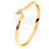 14K arany gyűrű - csiszolt gyémánt, vékony szárak