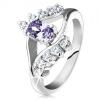 Csillogó gyűrű ezüst árnyalatban, lila csiszolt ovális, átlátszó cirkóniák