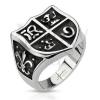 Gyűrű acélból - lovagi címer szimbólumokkal