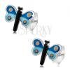 Bedugós fülbevaló, 925 ezüst, fénymázas pillangó kék szárnyakkal, pontok