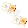 375 arany fülbevaló - négyzet fehér fénymázzal díszítve, átlátszó cirkónia
