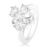 Ezüst színű gyűrű, három ovális átlátszó cirkónia, fényes hullám
