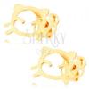 Fülbevaló 14K sárga aranyból - macska körvonal fényes és sima felszínnel