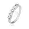 Gyűrű 925 ezüstből, öt beültetett átlátszó kővel