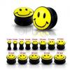 Fekete színű fülplug sárga nevető fejecskével