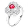 Gyűrű 925 ezüstből, cirkóniás levél, kerek, piros kő