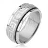 Fényes gyűrű 316L acélból, szatén, forgatható karika, görög kulcs