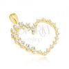 Arany medál - nagy szív, könnycsepp alakú és kerek cirkóniák egyvonalban