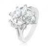 Gyűrű ezüst árnyalatban, fél cirkóniás virág, átlátszó cirkóniás ív