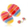 Akril fake plug fülbe - sárga, kék, piros és narancs sávok