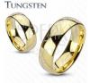 Karika gyűrű volfrámból, arany szín, Gyűrűk ura motívum gyűrű