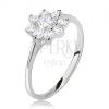 Gyűrű 925 ezüstből, virág, átlátszó, csiszolt kövekkel