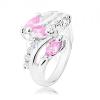 Gyűrű ezüst árnyalatban, átlátszó cirkóniás vonal, rózsaszín csiszolt szemek