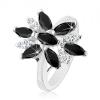 Ezüst színű gyűrű, nagy virág fekete és átlátszó szirmokkal