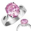 Nemesacél gyűrű - rózsaszín Október , könnycsepp kivágások