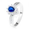 Fényes gyűrű - 925 ezüst, sötétkék cirkónia - könnycsepp, átlátszó kövek