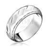 Gyűrű 925 ezüstből - fényes, bemart ferde téglalapok