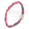 Rózsaszín fonat kagylóval, lila, kék és rózsaszín