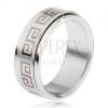 Acél gyűrű, csavarható matt karika, görög kulcs szürke színben