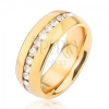 Arany színű gyűrű sebészeti acélból átlátszó cirkóniás sávval