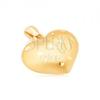 Arany medál - szabályos 3D szív, apró fényes vésetek, szatén felszín