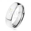 Szélesebb gyűrű, 316L acél, sárga cirkónia, tükörfény, 6 mm