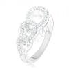 Eljegyzési gyűrű 925 ezüstből, három cirkóniás könnycsepp kontúr