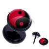 Fake plug a fülbe acélból - piros-fekete Jin és Jang motívum