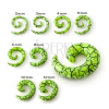 Expander fülbe - világos zöld csiga fekete repedésekkel