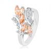 Csillogó gyűrű ezüst színben, kerek és szem alakú cirkóniák átlátszó és narancssárga színben