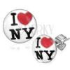 Bedugós fülbevaló sebészeti acélból - fehér kör, benne I love NY