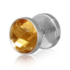 Kerek acél fake piercing a fülbe arany-barna színű cirkóniával