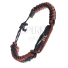 Egyszerű fonott bőr karkötő - barna díszítő henger
