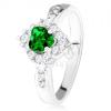 Gyűrű zöld, magszem alakú cirkóniával, átlátszó rombusz, 925 ezüst