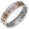 Acél karikagyűrű rózsaszín cirkóniákkal, gravírozott szerelmi vallomás