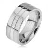 Gyűrű 316L acélból, két vékony sáv, egyenes felszín