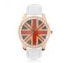 Acél karóra - rózsaszínarany, britt zászló, fehér szíj karóra