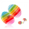 Akril fake plug fülbe, színes sávok