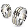 Acél karikagyűrű, három, ezüst színű sáv, aranyozott bemélyedések